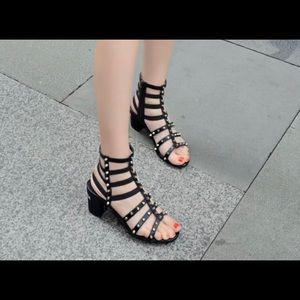 Stuart Weitzman gladiator sandal block heel